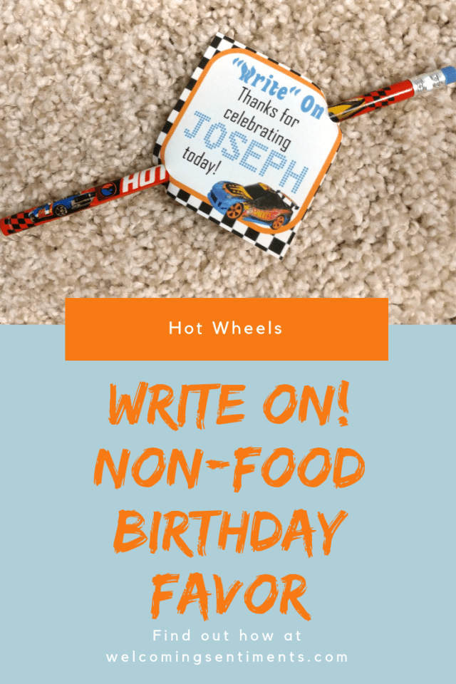 write on pencil hot wheels favor tag