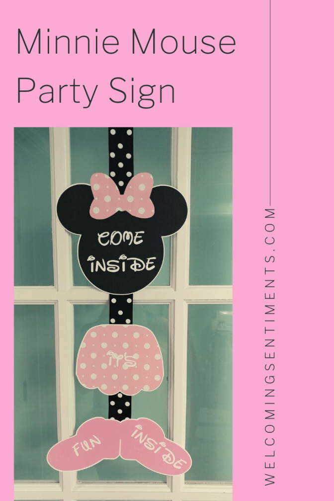 Pink Minnie Mouse birthday party come inside it's fun inside door sign.