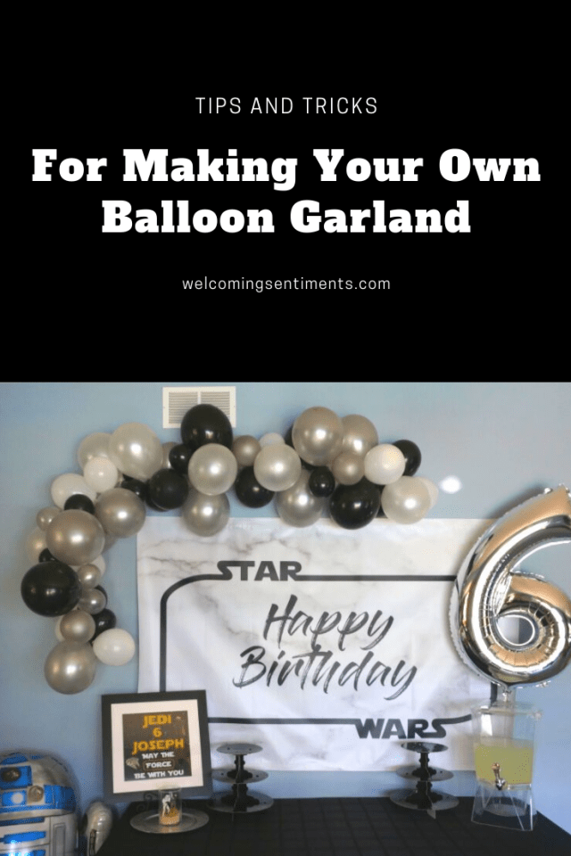 How to make your own balloon garland.  Star Wars birthday party, Jedi Training.