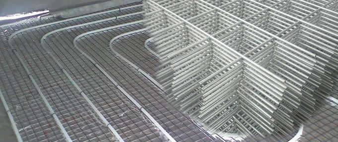 Electric Radiant Heating Cable Mesh Is Placed On A Kitchen Floor