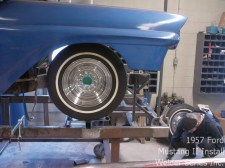 After the original front section of the chassis is lopped off, Garth and the customer established the ride height for the Ford.