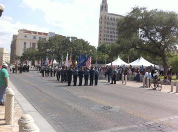 Military march just outside the Alamo in downtown San Antonio. Many branches of the military represented and lots of veterans in town, so it was some special event that we failed to find out about.