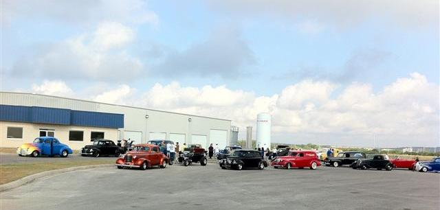 Gathering at Vintage Air for the first day of travel on the Street Rodder Magazine Road Tour.