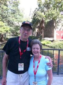 The group went to tour inside the Alamo, but Paul and Dorothy have been on previous trips, so we opted for one last quick stroll along a section of the Riverwalk we hadn't walked yet. A nice man took our picture.