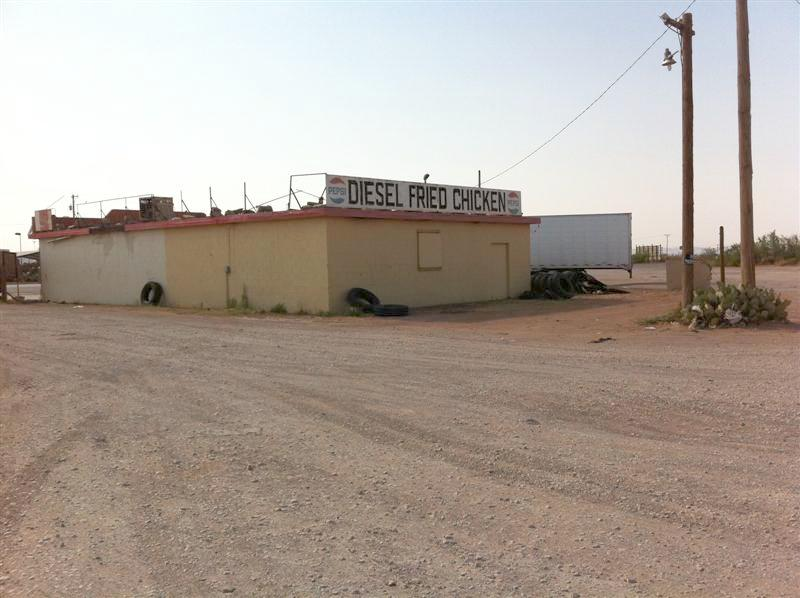 Stopped for gas in Van Horn TX, where US 90 meets I-10. Right next to the gas station was this small restaurant. Diesel Fried Chicken must be a West Texan specialty.