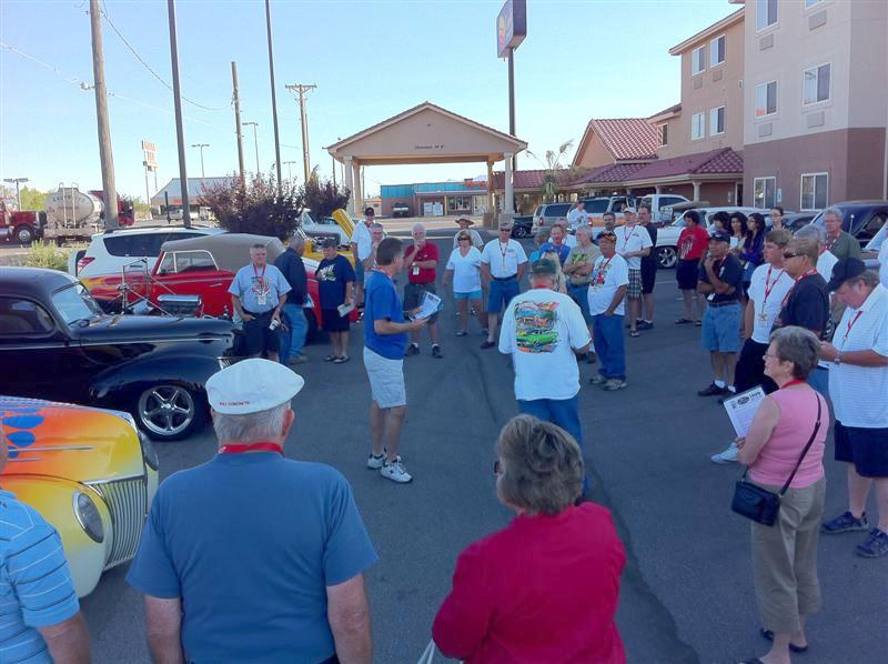 Rick Love leads our daily drivers' meeting before we leave for the first leg of our trip today. First stop: Tombstone AZ