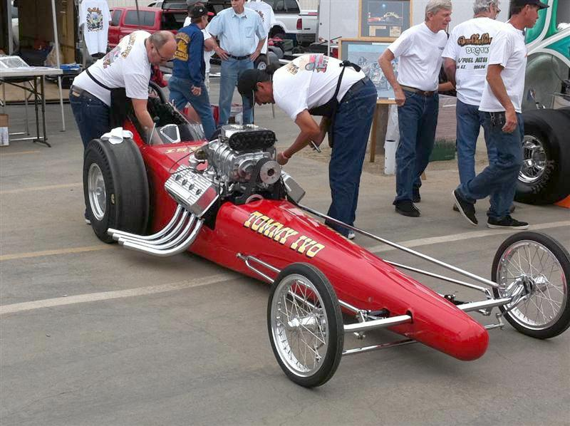"""Tommy Ivo's slingshot dragster. They fired several of these dragsters during the day (a """"cacklefest"""") and since we happened to be parked across the aisle, all conversation ceased during that time. Dorothy thinks it was a guy thing for sure!"""