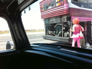 Outside Vegas - Someone is having RV troubles. Not sure why this person was dressed like this. Reinforced our decision to get to Hoover Dam.