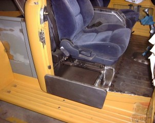 A drawer was installed under the seat in this F100 pickup to make the space more accessible.