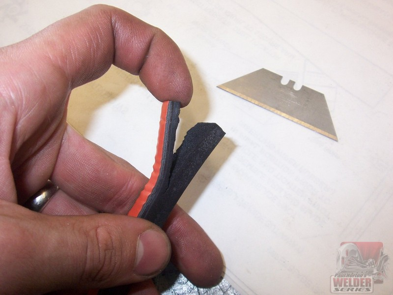 To get a thin length of weatherstripping, just slice a solid piece with a razor blade.