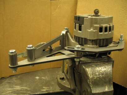 Our long alternator bracket bring assembled using an alternator as a fixture.