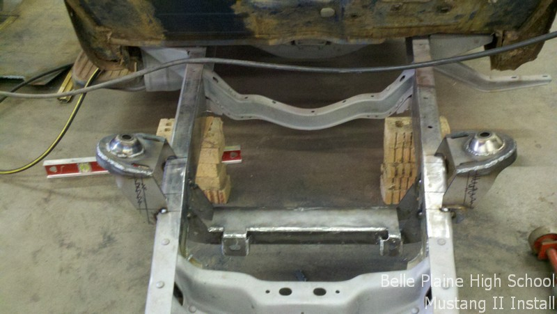 Mustang II crossmember tacked in place