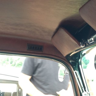The heater is in the trunk and the vents run up the B pillar and out by your head.