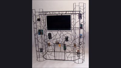 Johnson Controls - Castle Sculpture to hold large monitor - 6ft tall