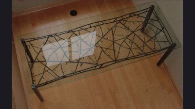 """Steel """"Twig"""" Dinning Room Table w/  Glass Top  7 ft long"""