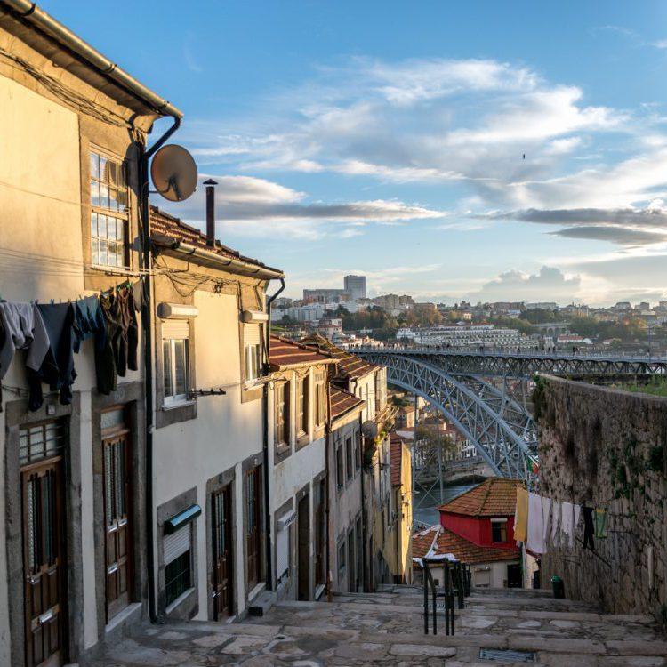 view on Dom Luis bridge in Porto