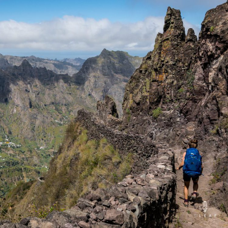 Hiker walking on a trail in Sao Antao