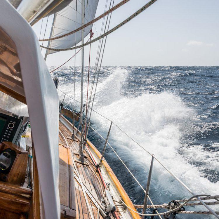 Sailing on rough sea