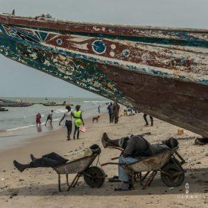 african fishermen sleeping on the beach