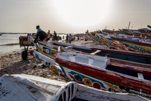 Pirogue fishing boats on the beach in Senegal