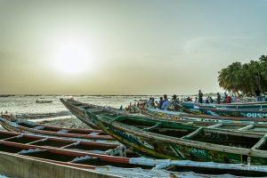 Pirogue fishing boats in Senegal