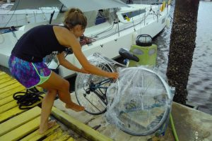 Unpacking bicycles after crossing the Atlantic