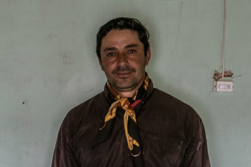 Traditional Argentinian goat shepherd posing for a portrait picture