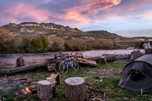 Sunset camping next to the river in Junin de los Andes