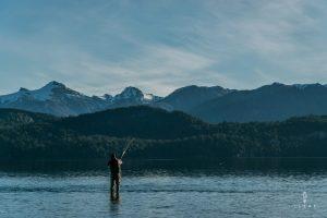 Man fly fishing in Lago Nahuel Huapi