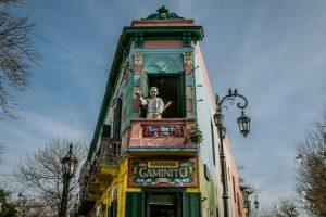 Sculpture form the pope on a balcony in El Caminito in La Boca