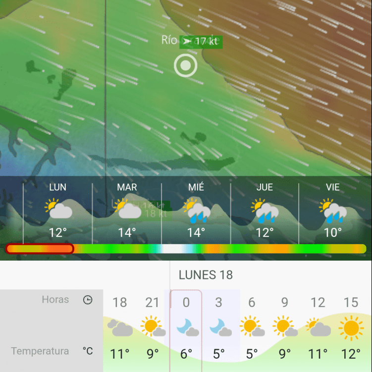 Screenshot of the windy cycling app