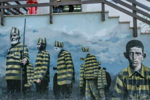 Street art Wall painting with Prisoners in Ushuaia