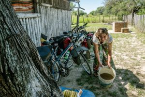 Washing with brown water in El Chaco Paraguay