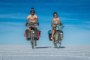 Naked cycling salar de uyuni is a cyclist tradition