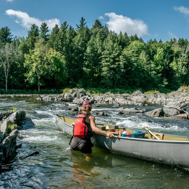 learn to canoe and tracking up rapids