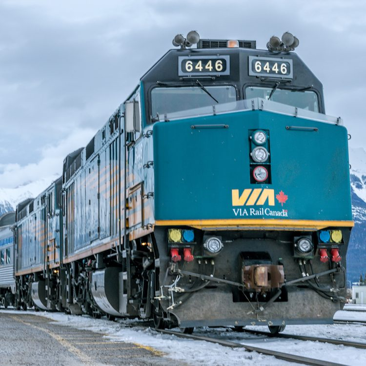 ViaRail train in snow