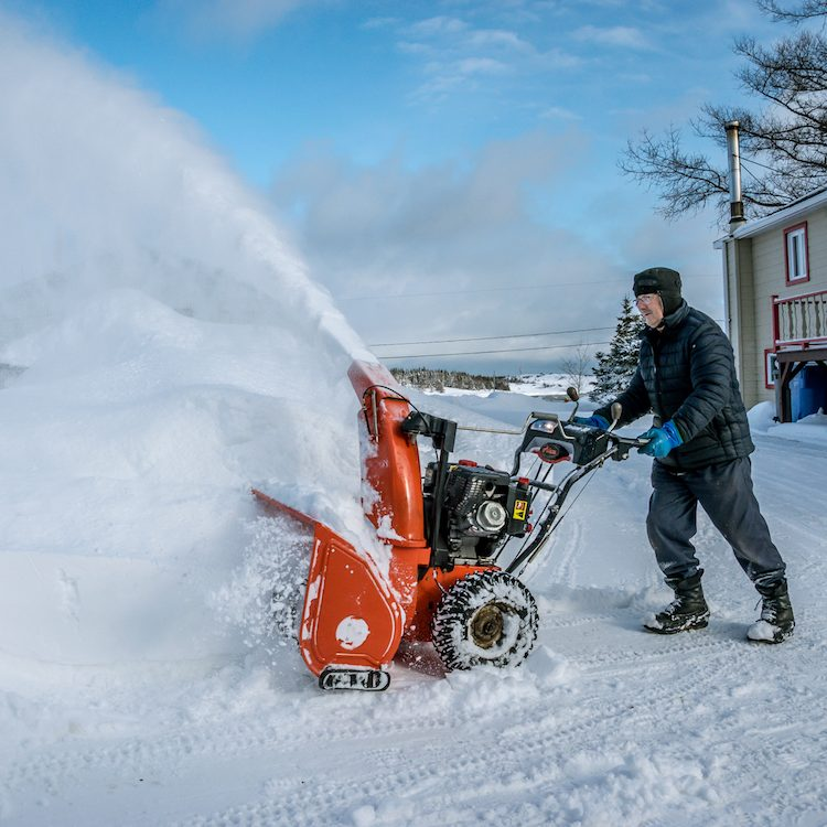 snow blower in action