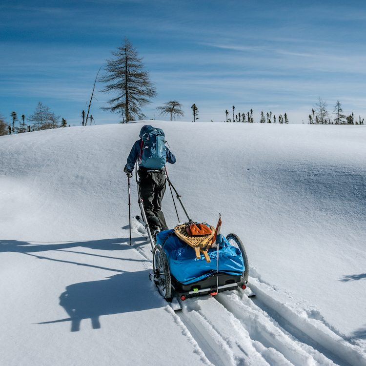 skitouring in fresh snow