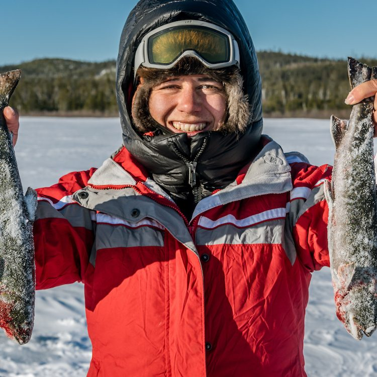 fresh caught trout with ice fishing