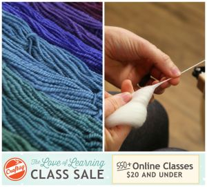 Making is what you love, learning is how you get there. Let Craftsy's Love of Learning Class Sale make it easier for you to savor the joy of making, today! For a limited time, shop 550+ online Craftsy classes $20 and under!