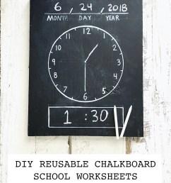 DIY Erasable/Reusable Homeschool Chalkboard Worksheets: Chalkboard Clock [ 1125 x 750 Pixel ]