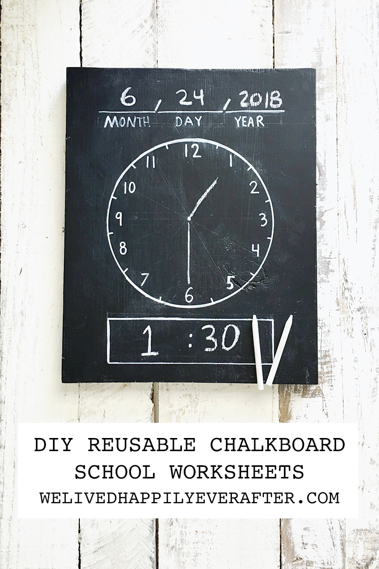 hight resolution of DIY Erasable/Reusable Homeschool Chalkboard Worksheets: Chalkboard Clock