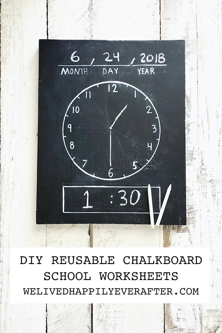 hight resolution of DIY Erasable/Reusable Homeschool Chalkboard Worksheets: Chalkboard Clock