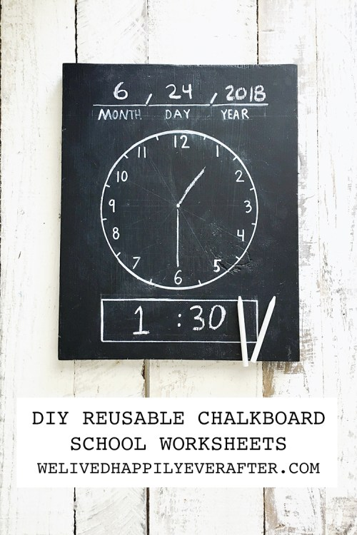 small resolution of DIY Erasable/Reusable Homeschool Chalkboard Worksheets: Chalkboard Clock