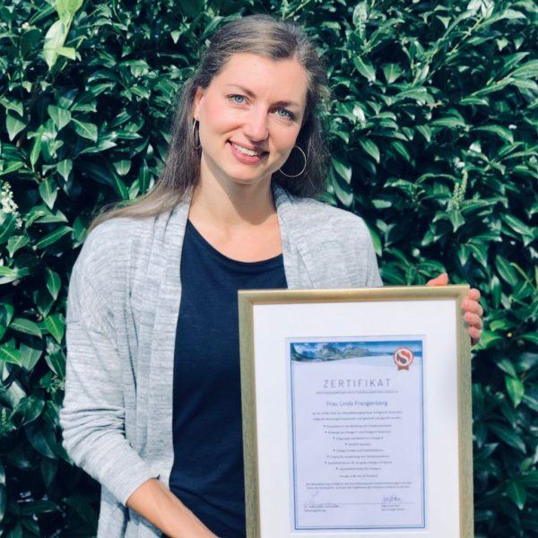 Linda Frangenberg mit Zertifikat Beratungskompetenz Fettsäureanalyse (Omega-3)