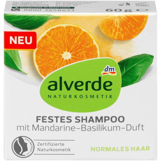 Testsieger bei Stiftung Warentest 6/2020 sowie sehr gut im Test von Öko-Test 9/2020: alverde Festes Shampoo Mandarine-Basilikum (dm)