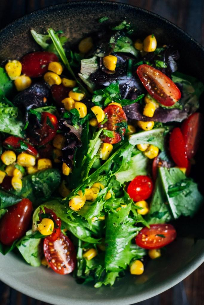 Summer Garden Salad w/ Sweet Corn, Tomatoes + Herbs | Well and Full | #vegan #salad #recipe