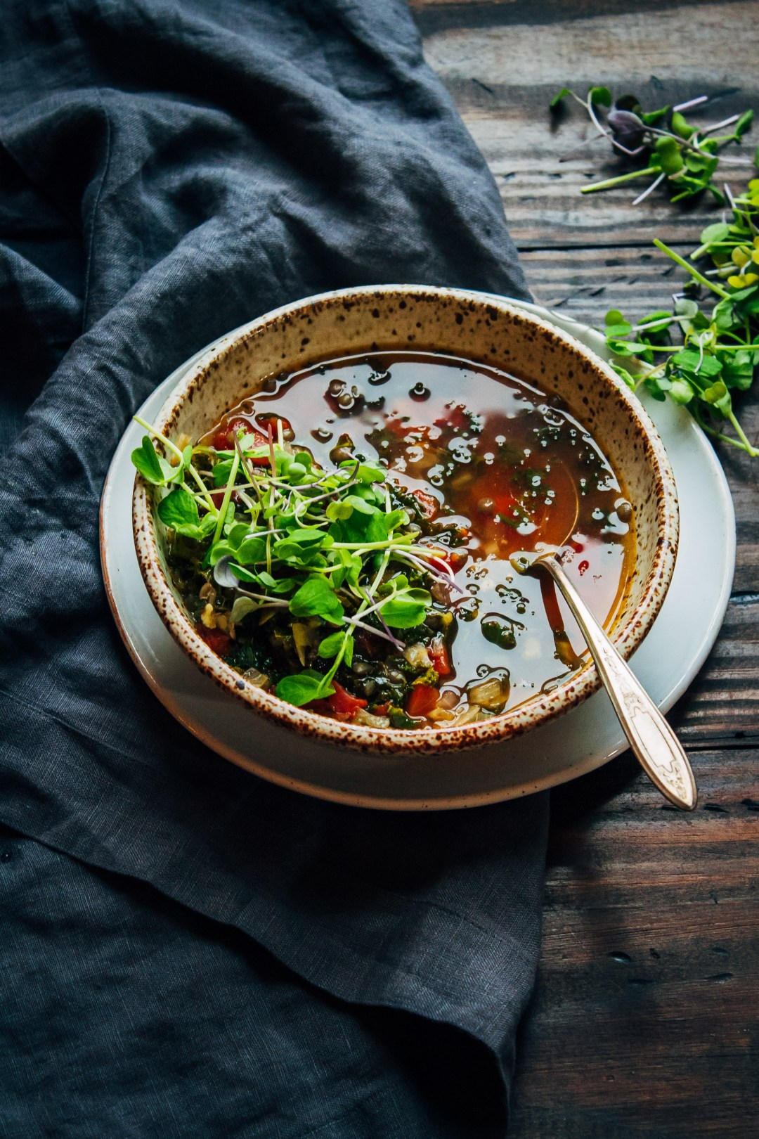 Spicy Kale Soup | Well and Full | #vegan #soup #recipe