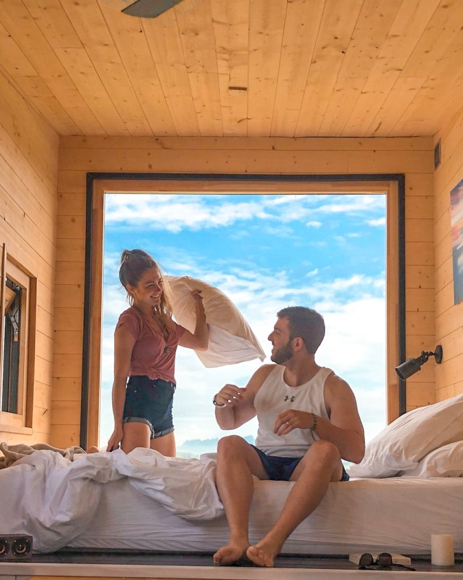 Couple Has Pillow Fight in a Tiny House