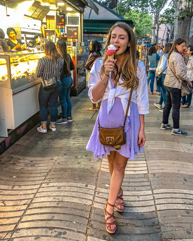 Woman Enjoys Ice Cream on Las Ramblas